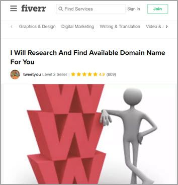 Fiverr 找網域服務