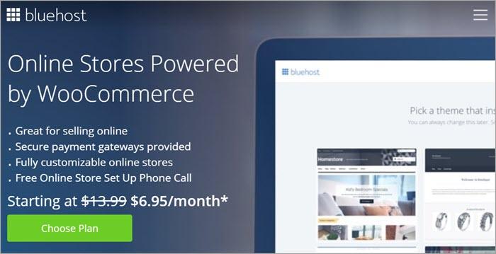 Bluehost 的 WooCommerce 電商主機方案